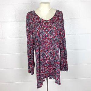 J Jill floral paisley tunic top size XL